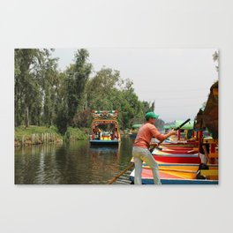Xochimilco Along the Canal Canvas Print