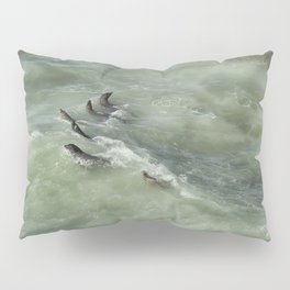 Sea Lions Cavorting in a Green Sea Pillow Sham