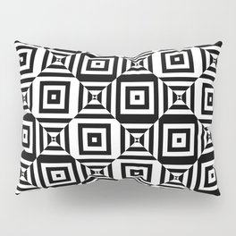 Op art pattern with checkered black white squares Pillow Sham