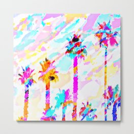 palm tree with colorful painting texture abstract background in pink blue yellow red Metal Print