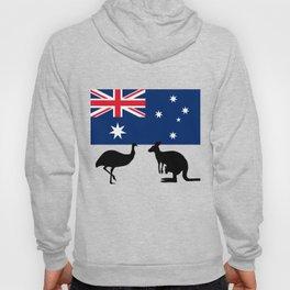 Australian Flag with Emu and Kangaroo T-Shirt Hoody