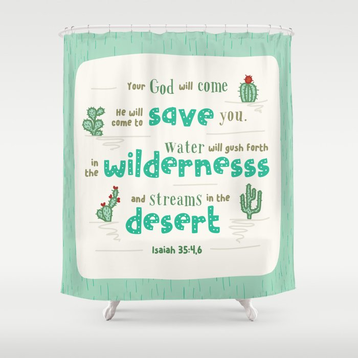 Streams In The Desert Hand Lettered Bible Verse Shower Curtain By Cinacatteau