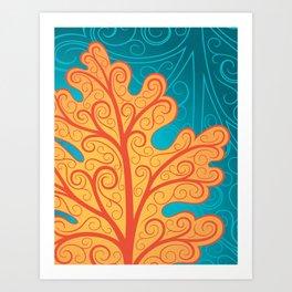 Oak Leaf, Orange and Blue Botanical Art Nouveau Art Print