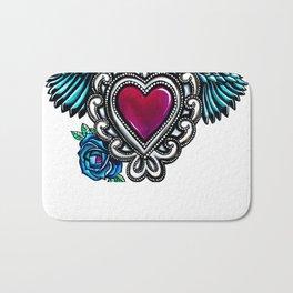 Sacred Heart White Background Bath Mat