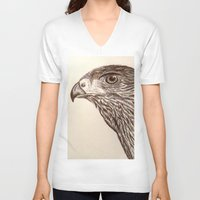 hawk V-neck T-shirts featuring Hawk by Leslie Creveling