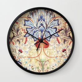 William Morris Embroidered Orchid & Calla Lilies Floral Textile Print Wall Clock