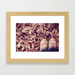 yellow shoes, fall leaves Framed Art Print