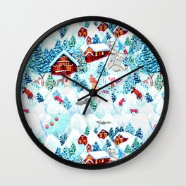 Alpine Chalets with reindeer, owls and snow (watercolor) Wall Clock