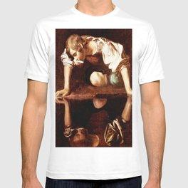 Michelangelo Merisi da Caravaggio, Narcissus at the Source, oil on canvas, 1597-99 T-shirt