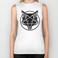 pentagram Biker Tanks featuring Pentagram Wolf Inverted by Mohrne