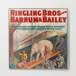 Ringling Bros Barnum & Bailey White Baby Elephant Pawah Vintage Poster Metal Print