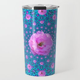 100 PINK ROSES & TURQUOISE ART Travel Mug