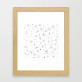 Twinkle Snowflake -Silver Grey & White- Framed Art Print