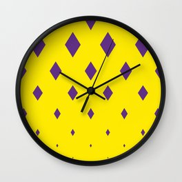 violets romb on yellow ver. simple Wall Clock
