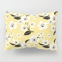Light Pastel Yellow & White Sakura Cherry Tree Flower Blooms - Aloha - Hawaiian Floral Pattern Pillow Sham