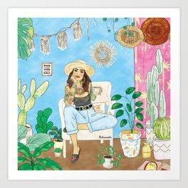 Jungle Vacay and coffee love #society6 #travel #illustration Art Print Art Print