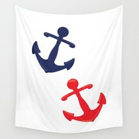 anchors Wall Tapestries featuring Anchors by Indulge My Heart