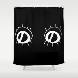 Eyez - white on black Shower Curtain