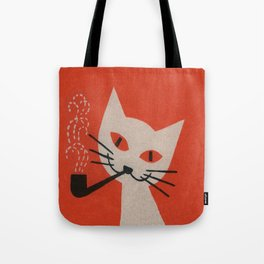 Retro White Cat Smoking a Pipe Tote Bag
