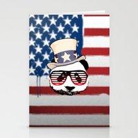 patriotic Stationery Cards featuring Patriotic Panda by crayzeestuff