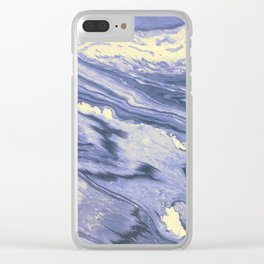 Lavender Marble With Cream Swirls Clear iPhone Case