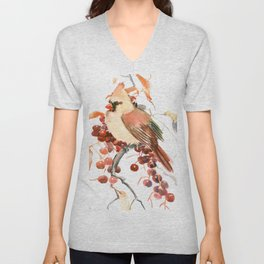 Cardinal and Berries Unisex V-Neck