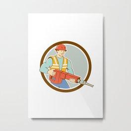 Construction Worker Jackhammer Circle Cartoon Metal Print
