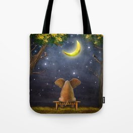 Illustration of a elephant on a bench in the night forest  Tote Bag