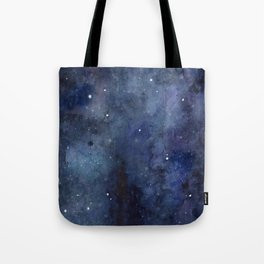 Galaxy Nebula Watercolor Night Sky Stars Outer Space Blue Texture Tote Bag