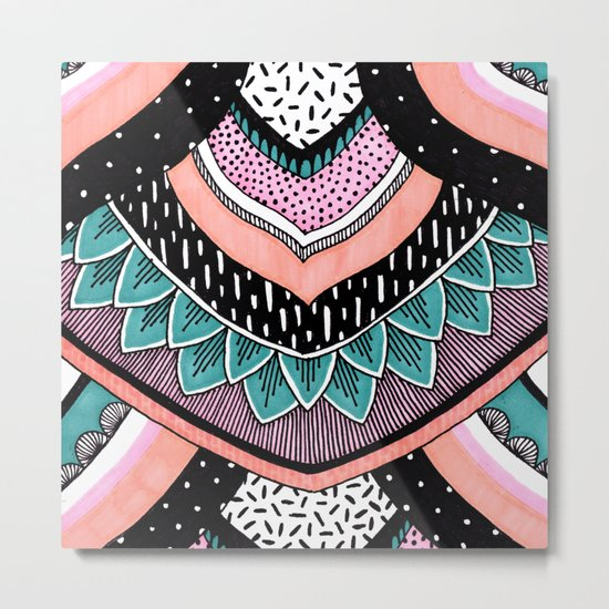 Pink & Coral Feather Pattern Metal Print