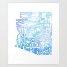 Typographic Arizona - Blue Watercolor Art Print