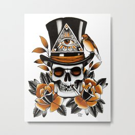 Smoking skull and roses Metal Print