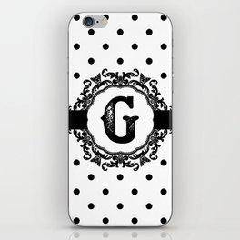 Black Monogram: Letter G iPhone Skin