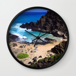 "Forbidden, ""NO TRESPASSING"" Beach in Oahu, Hawaii Wall Clock"