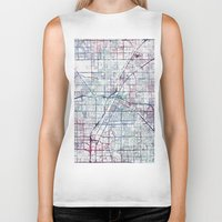 las vegas Biker Tanks featuring Las Vegas map by MapMapMaps.Watercolors