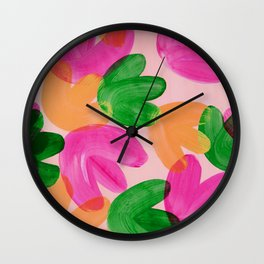 Vibrant Acrylic Painting Layered Tulips Floral Pattern Multi Colors Green Pink Orange Large Brush Wall Clock