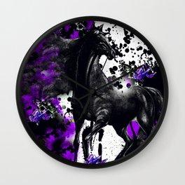 HORSE BLACK AND PURPLE THUNDER INK SPLASH Wall Clock