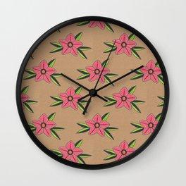 Old school tattoo flower pattern Wall Clock
