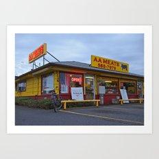 Neighborhood meat market Art Print