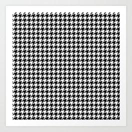Monochrome Black & White Houndstooth Art Print