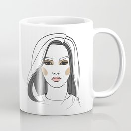 Asian woman with long hair. Abstract face. Fashion illustration Coffee Mug