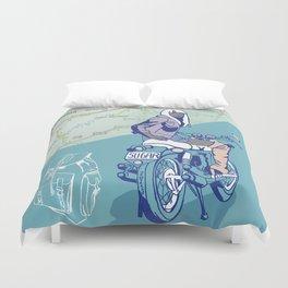 Motorcycle girl Duvet Cover