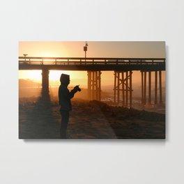 Photographer At Sunset Metal Print