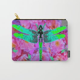 EMERALD DRAGONFLIES PINK ROSES GREY COLOR Carry-All Pouch