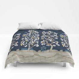 Citrus Grove Chinoiserie Mural - Navy Comforters