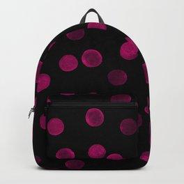 Watercolor. Purple polka dot on black . Backpack