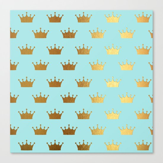 Gold Glitter effect crowns on aqua - Heraldy Pattern for Princesses on #Society6 Canvas Print