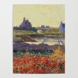 Colorful Poppies in French Countryside floral blossoms landscape painting by Ferdinand Loyen du Puigaudeau Poster