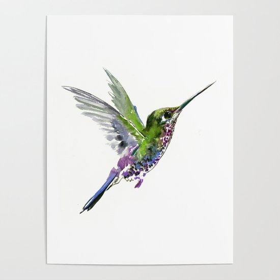 Paper Wall Mural Photo Wallpaper Poster Picture Image Hummingbird Purple