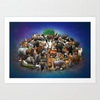 Interlocking Animals Art Print